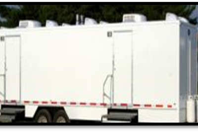 Shower and Restroom Trailer Rentals Shower Trailer Exterior 400x268 - 10 Station Restroom Trailer