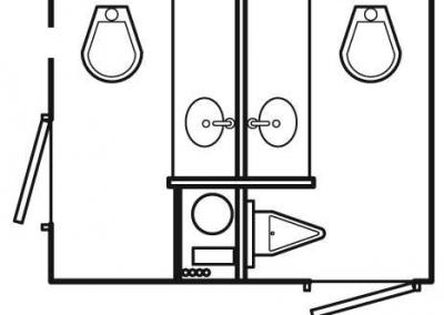 Shower and Restroom Trailer Rentals SS 2SRTLayout 400x284 - 2 Stall Restroom Trailer