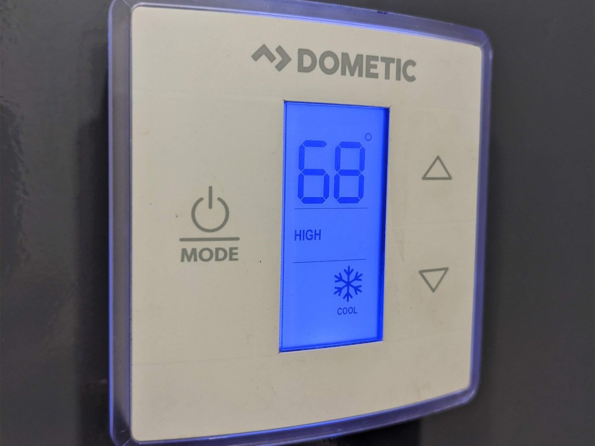 Shower and Restroom Trailer Rentals Thermostat in our Restroom Trailer - Home