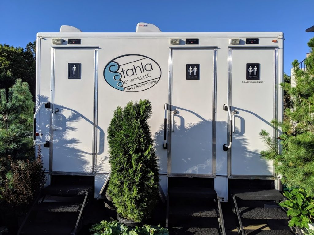 Shower and Restroom Trailer Rentals 3stallrestroomtrailerwithtrees 1024x768 - Outdoor Weddings and Restrooms
