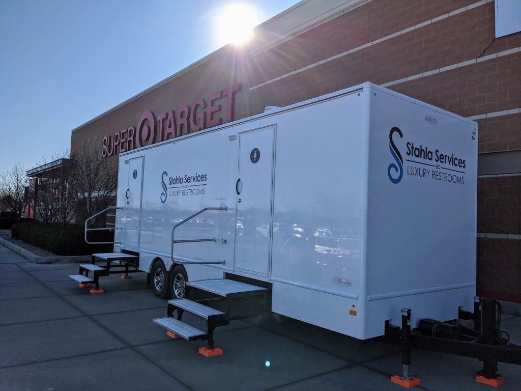 Shower and Restroom Trailer Rentals restroom trailer at target 1024x768 - Long Term Portable Restroom Rentals