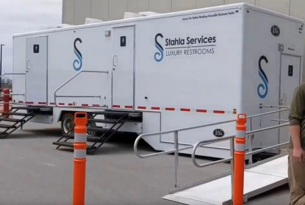 Shower and Restroom Trailer Rentals 10 Stall Ada Restroom Trailer 1024x690 - Handicap Accessible ADA Restroom Trailers