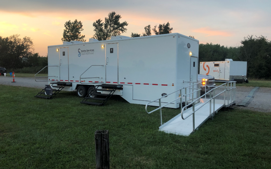 Mobile Restroom Trailer Footprint and Setting