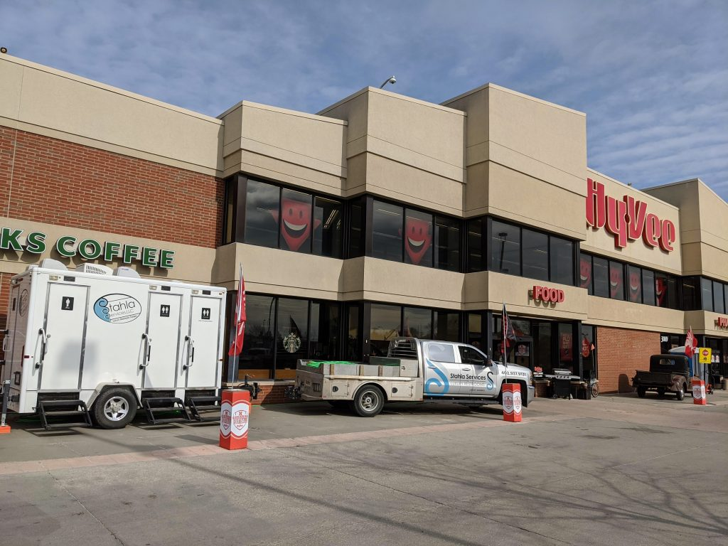 Shower and Restroom Trailer Rentals portable restroom delivery hyvee 1024x768 - Restroom and Shower Trailers in Wichita